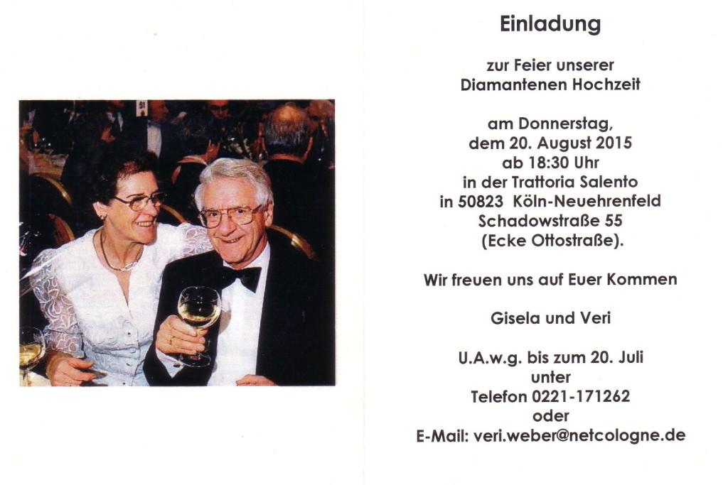 Einladungskarten Diamantene Hochzeit Designideen